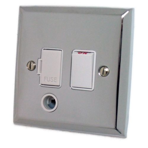 G&H SC56W Spectrum Plate Polished Chrome 1 Gang Fused Spur 13A Switched & Flex Outlet